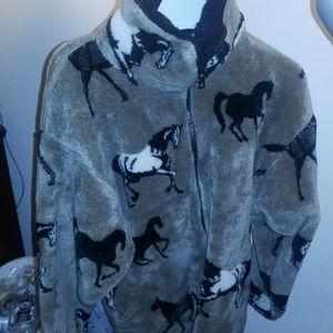 Vintage horse print fluffy jacket